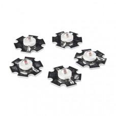 LED - 3W Aluminum PCB (5 Pack, Red)
